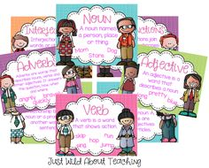 Just Wild About Teaching :Parts of Speech {posters and printables