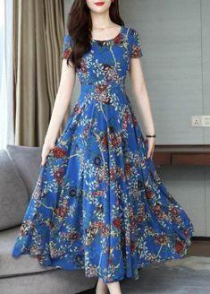 Chiffon Maxi Dress, Maxi Dress With Sleeves, The Dress, Short Sleeve Dresses, Dress Silhouette, Swing Dress, Day Dresses, Designer Dresses, Fashion Dresses