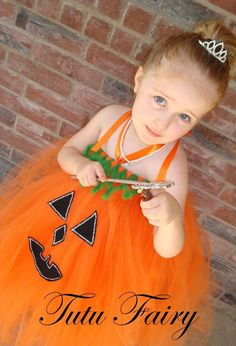 Lilybeth wants to be a pumpkin for Halloween. How perfect for my little princess!