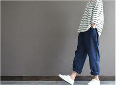 Lockere Baumwoll-Hose Rübe Hosen Damen Hose lässig Hose
