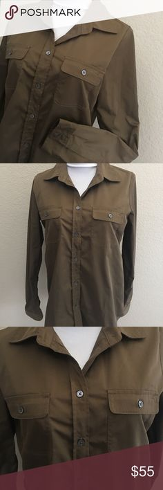 NWT [Elizabeth and James] Olive Button Front NWT Elizabeth and James olive button front long sleeve 100% polyester blouse (feels like lightweight raincoat) with double front buttoned pockets. Retail $445 but missing belt.  Please message if interested in measurements. Elizabeth and James Tops Button Down Shirts