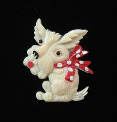 Celluloid Scotty Dog Brooch Made in Occupied Japan by Elsewind