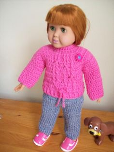 This is a free crochet pattern for the American Girl or 18 inch doll.