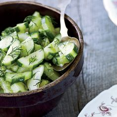 Braised Cucumbers with Dill // More Terrific Cucumber Recipes: http://www.foodandwine.com/slideshows/cucumbers #foodandwine