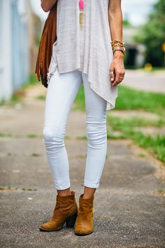 White denim, transition from summer to fall outfit