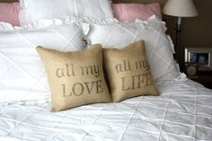 burlap pillows with love quotes