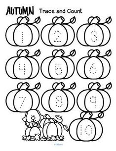 Fall trace and count FREE Here are three fall-themed tracing and counting pages for early learners. Count the sets, recognize and trace the numbers, add extra details and color if desired. If you find these pages useful, I would LOVE some feedback! Numbers Preschool, Preschool Lessons, Preschool Worksheets, Preschool Learning, Kindergarten Classroom, Classroom Activities, Learning Activities, Preschool Fall Theme, Halloween Preschool Activities
