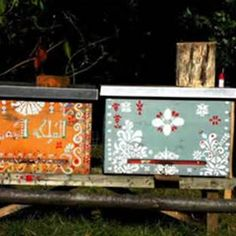 Hand Painted Bee Hives