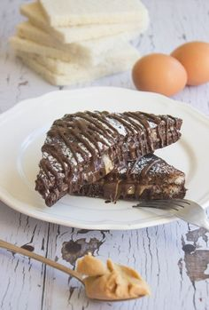Chocolate French Toast with Peanut Butter. Ever tasted or seen french toast made with chocolate dipped bread?