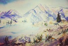 Tundric Landscape #tundra #watercolor #watercolorpainting #instaart Insta Art, Watercolor Paintings, Landscape, Nature, Travel, Stuff Stuff, Scenery, Naturaleza, Viajes