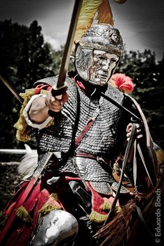 Roman cavalryman during the Hippika Gymnasia. Medieval World, Medieval Armor, Ancient Rome, Ancient History, Roman Armor, Roman Warriors, Roman Legion, Landsknecht, Roman Soldiers