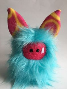Plush Monster - OOAK Hand Stitched Soft Toy - Faux Fur Softie - Cute Stuffed Monster - Collectible Handmade Plush - Blue Fur Fuzzling by ItsHandmadeByAndrea on Etsy https://www.etsy.com/ca/listing/479992628/plush-monster-ooak-hand-stitched-soft