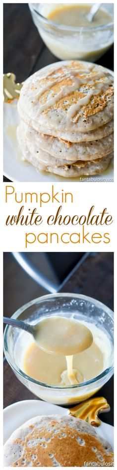 Pumpkin White Chocolate Pancakes with a White Chocolate Maple Syrup: A recipe that will change your Fall breakfast expectations for life! Fall Breakfast, Breakfast Bake, Breakfast Recipes, Dessert Recipes, Pancake Recipes, Breakfast Options, Breakfast Dishes, Best Chocolate Desserts, Chocolate Pancakes