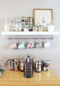 48 Unique Mug Storage Solutions That You Need To See Today . A mug rack says a lot about what a person likes to drink and what they like to drink it in. When walking into a persons home, a mug rack prominently d. Ikea Design, Design Café, Deco Design, Design Ideas, Coffee Station Kitchen, Home Coffee Stations, Kitchen Trolley, Coffee Mug Storage, Coffee Mugs