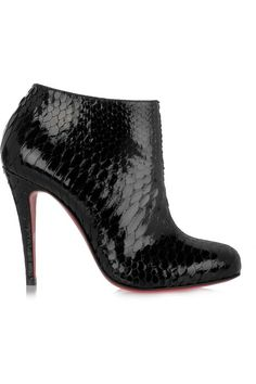 Belle 100 glossed-python ankle boots by Christian Louboutin Bootie Boots, Shoe Boots, Ankle Boots, Ysl Boots, Fashion Heels, Fashion Boots, Louboutin High Heels, Christian Louboutin Outlet, Dream Shoes