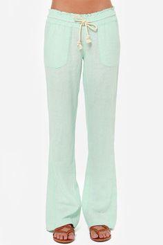 Roxy Ocean Side Mint Green Lounge Pants