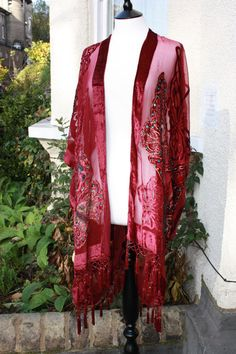 Beaded Burgundy Butterfly Fringed Long Kimono by missloulouscloset, £50.00
