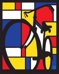 Mondrian Bike by Sassan Filsoof - Womens Bicycle - Ideas of Womens Bicycle - Mondrian inspired Dutch bicycle art Dutch Bicycle, Bicycle Art, Bicycle Painting, Bicycle Crafts, Graphisches Design, Bike Design, News Design, Cycling Quotes, Cycling Art