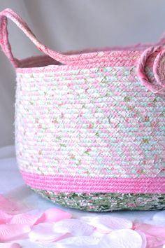 Decorative Gift Basket Handmade Pink Coiled by WexfordTreasures
