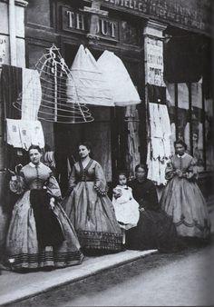Underneath that Hoop Skirt- The History of Crinoline, the Victorian fashion garment. Victorian Street, Victorian Life, Victorian London, Victorian Fashion, Vintage Fashion, Vintage Vogue, Victorian Facts, Victorian Maid, Gothic Fashion