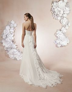 Sweetheart / Wedding Gowns / Style #5988 / Available Colours : All Ivory, White - A sweetheart neckline draped to the natural waistline accent this chiffon A-line gown. Buttons cover the back zipper to the natural waist and ruffles cascade to the hem of the chapel train (back)