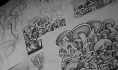 a table full of mushrooms. Sketches and drawings for Misty Morning Saint Shroom LP