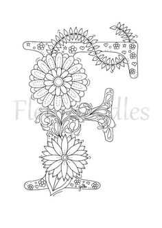 adult coloring page floral letters alphabet F hand