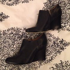 Black leather booties Genuine leather black wedge booties for sale! These shoes are adorable but they are a little too large on me. They have only been worn 3 times. Leather looks brand new, no scuffs or marks. Boutique Shoes Ankle Boots & Booties
