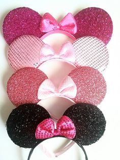 Super cute shiny Minnie Mouse Ears with a your choice of black, hot pink, light pink, light pink with shiny sequins. All beautiful handmade to be