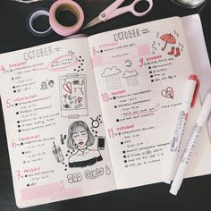 "terjistudies: ""One of my favorite spreads from October "" Bullet Journal, Creativity, BuJo, Collection, Creative inspiration. Planner Bullet Journal, Bullet Journal Notes, Bullet Journal Spread, Bullet Journal Layout, My Journal, Journal Pages, Dream Journal, Fitness Journal, Bullet Journal October"