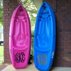 Monogram on a kayak. Monogrammed kayaks.