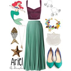 Ariel by disneylooks on Polyvore featuring Loeffler Randall, Antica Murrina, Mattlin Era, Justine Brooks, Forever 21, cocktail rings, long pendant necklaces, maxi skirts, charm bracelets and hoop earrings