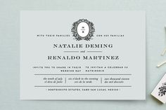 """Endure"" - Monogrammed, Vintage Wedding Invitations in Ocean Mist by Jennifer Postorino."