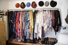 Sasha's Silver Lake Bohemian Bungalow | Inspo for how to hand my clothes ... I think I've got it! Put my bureau in the closet, and use the corner for this! ...Just... where to put the bookshelf?