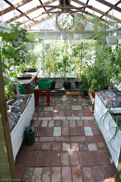 Tiled floor in greenhouse. Greenhouse Shed, Greenhouse Gardening, Outdoor Rooms, Outdoor Gardens, Outdoor Living, Decoration Inspiration, Garden Inspiration, Greenhouse Interiors, Garden Structures