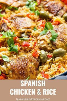Spanish Chicken And Rice (Best Arroz Con Pollo) - Lavender & Macarons Looking for Healthy One Pot Meals? Try this easy Spanish Chicken And Rice or Arroz Con Pollo. It's bursting with comforting flavors. it's a delicious chicken dinner recipe for family. Lunch Recipes, Meat Recipes, Mexican Food Recipes, Chicken Recipes, Dinner Recipes, Cooking Recipes, Spanish Recipes, Spanish Meals, Spanish Entrees