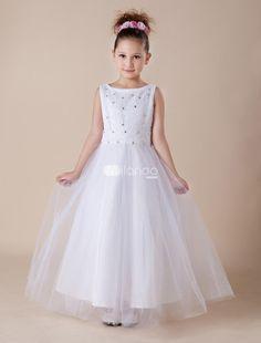 Classic Crystal Beaded Communion Dress - White Satin Sleeveless ...