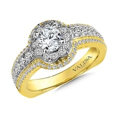 Diamond Halo Engagement Ring Mounting in 14K Yellow/White/Rose Gold (.59 ct. tw.) For more information on purchasing this ring please contact us at 570-383-8339 or check us out at www.georgeandcodiamonds.com