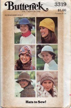 1970s Butterick 3319 Misses Hat Pattern 3 Styles Womens Vintage Sewing  Pattern UNCUT 69ae74e3dbd