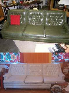This is what a little (ok 8 cans) of white vinyl spraypaint can do with an outdated sofa!