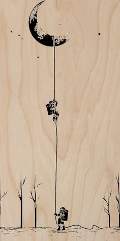 """Reach For The Moon"" Astronauts Climbing - Plywood Wood Print Poster Wall Art"