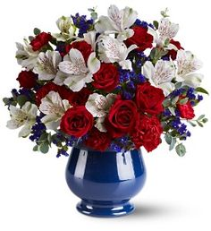 Sweet Liberty Bouquet. Red, white and blue flowers. Patriotic.