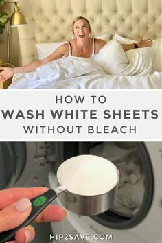 White sheets are what cloud 9 dreams are made of! Unless of course, you're faced with yellowish looking sheets, ripped seams, and so on. But today, I'm sharing how to keep those sheets looking fresh as ever so you'll never waste money again! Washing White Clothes, Cleaning White Clothes, Cleaning White Sheets, Clean Sheets, White Bed Sheets, White Duvet, How To Clean Bed, Clean Clean, Brighten Whites