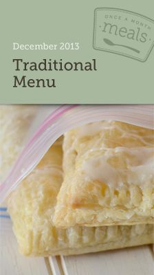 Traditional December 2013 Freezer Menu- Traditional December 2013 Freezer Menu- A menu for making a month of meals in one day complete with grocery list, instructions, labels, and more. #freezercooking #oamc #menuplanning