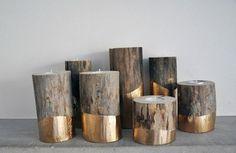 legno con buco x candela---------------DIY Fall Decor: All Gold Everything