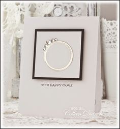 Dietrich Designs - Bada Bling!  / Clean and simple, black and white engagement / wedding card.  Use silver mirror cardstock to achieve the wedding ring look, and add rhinestone stickers for the gems.  Verve's Love Story sentiment.
