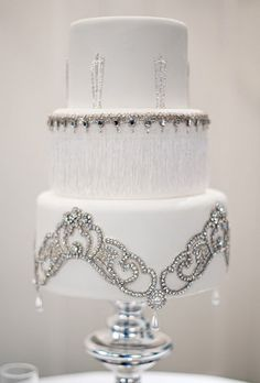 wedding cake with vintage crystals