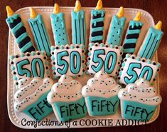 (12) complete - Birthday Cookie Platter with cupcakes and candles