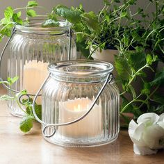 Small Glass Jar LED Candle Lantern