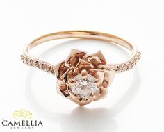 14K Rose Gold Diamond Engagement Ring by by CamelliaJewelry